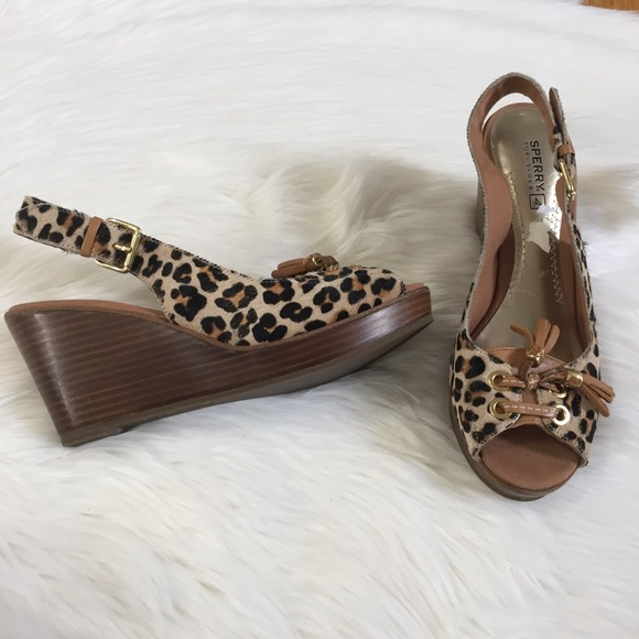 Sperry Shoes - Sperry Textured Cheetah Tassels Open Toe Wedges
